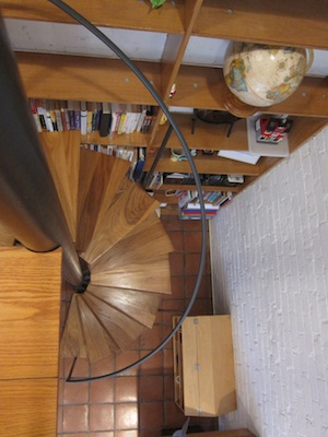 916 Fuller- looking down spiral stairs- 2014