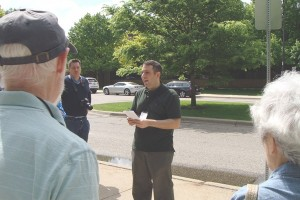 Anthony Timek gives North Campus tour